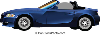 Cabriolet - German car realistic illustration on white...