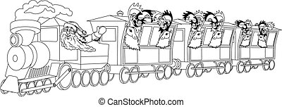 Santa on train - Illustration of a christmas train with...