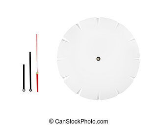 Wall clock with movable arrows isolated on white background.