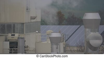 Chemical factory with smoke stack, air pollution. flat CineD...