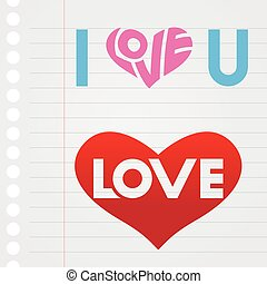 I Love You Text on Notebook Paper Stock Illustration