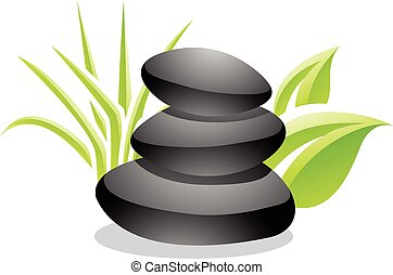 Spa Stones and Leaves Stock Illustration - Stock...