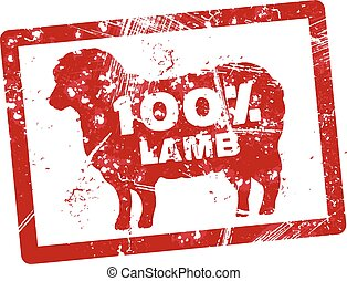 Grunge red rubber stamp with the text 100 percent lamb written inside