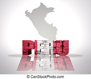 Word Peru on a map background - Word Peru with National Flag...
