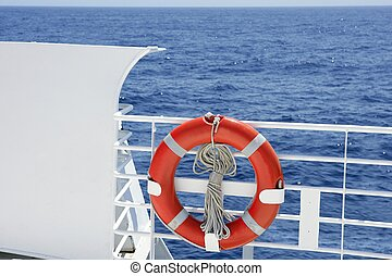 Cruise white boat handrail detail in blue sea and round...