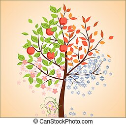säsongbetonad, träd,