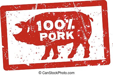 Grunge red rubber stamp with the text 100 percent pork written inside