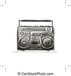 Retro cassette recorder, sketch for your design. Vector...