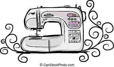 Sewing machine modern, tro sketch for your design - Sewing...