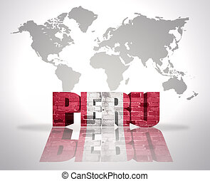 Word Peru on a world map background - Word Peru with...