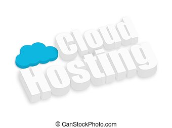 3d Cloud Hosting Text - Abstract 3d Cloud Hosting Text...