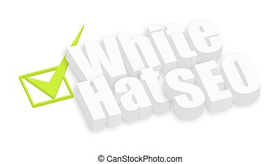 White Hat SEO 3d Text with Check Mark Sign Vector...
