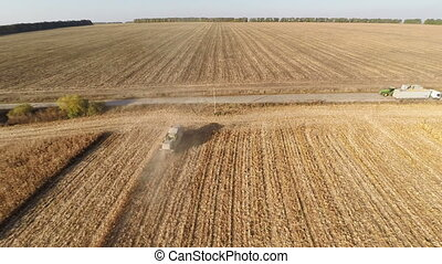 Plowed Fields - Aerial shot: Flying over Plowed fields