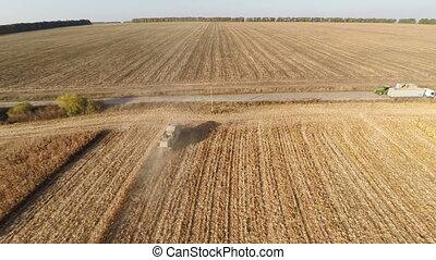 Plowed Fields - Aerial shot: Flying over Plowed fields