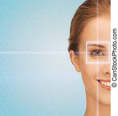 smiling young woman with laser light lines - health,...