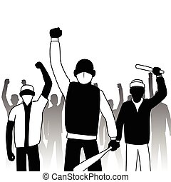 Combative protesters - This is an illustration of combative...
