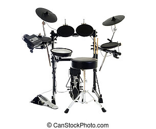 Modern Drums - Modern electric drum set isolated on white.