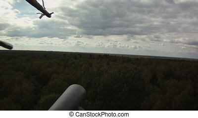 Helicopter in sky - View from window of military helicopter