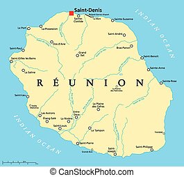 Reunion Political Map with prefecture Saint-Denis, important...