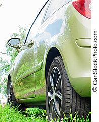 green car at grass. back view