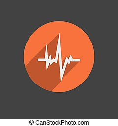 Pulse Heart Rate Vector Icon in flat style with long shadow...