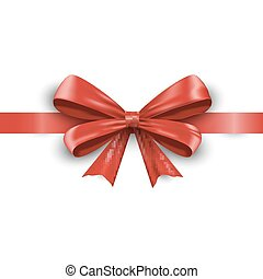 Red ribbon with bow isolated on white background. Vector
