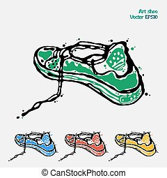 Symbol of sports shoes. Logo for running. Sneakers are presented in four colors green, blue, red and yellow. Abstract art drawing executed in ink and pencil. Vector illustration EPS10