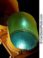 Green light - Traffic light as shot from below with green...
