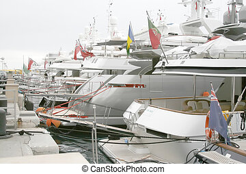 Yachts docked in Monte Carlo, Monaco - Yachts docked Monte...