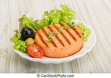 Fish cakes - Grilled Fish cakes in the bowl with salad...