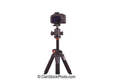 Digital camera mounted on tripod, isolated on white...