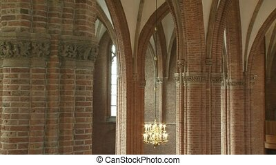 church interior gothic arches, chandelier, organ front - pan...