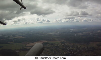 View from military helicopter - View from window of military...