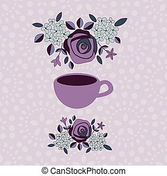 Menu template with cup and flower bunch