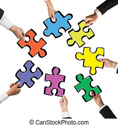 Teamwork and integration concept with pieces of puzzle