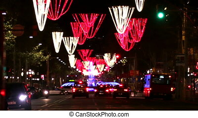 Barcelona Christmas Street Lights - Vehicles on the streets...