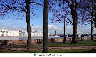 Spring view at Neva river quay, Saint Petersburg - Beautiful...