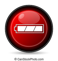 Fully charged battery icon Internet button on white...
