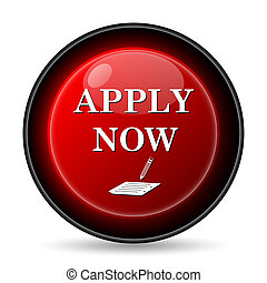 Apply now icon. Internet button on white background.
