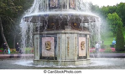 Roman Fountain In Peterhof - Saint-Petersburg, Russia -...
