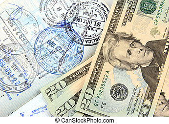 Travel expenses - Money and a multiple sealed passport.