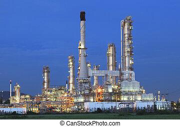 hermoso, refinería, planta, tarde, heav, aceite, tiempo,...