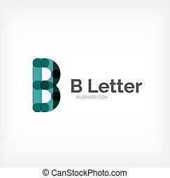 B letter logo, minimal line design, business icon
