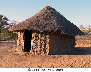 African Hut - Straw roof hut in Africa