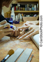 close-up manicure making in beauty salon - close-up picture...