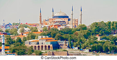 Basilica Hagia Sophia in Istanbul - Panoramic view at Hagia...