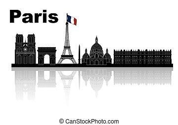 Paris skyline - silhouette of Paris skyline - black and...