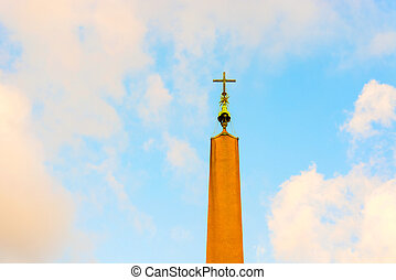 Obelisk at Saint Peter Square in Rome, Italy. - The...