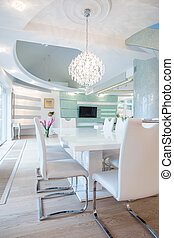 Dining room - Exclusive luxury dining room with white table