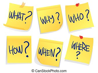 Questions - Vector illustration of sticky papers with...